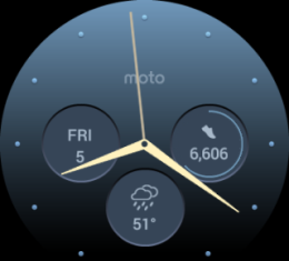 Dials screen: Date, Time, weather (raining, as usual), steps & goal